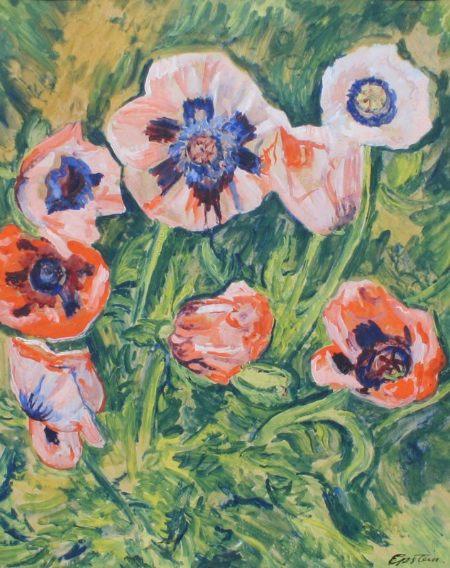 12: SIR JACOB EPSTEIN POPPIES GOUACHE PAINTING