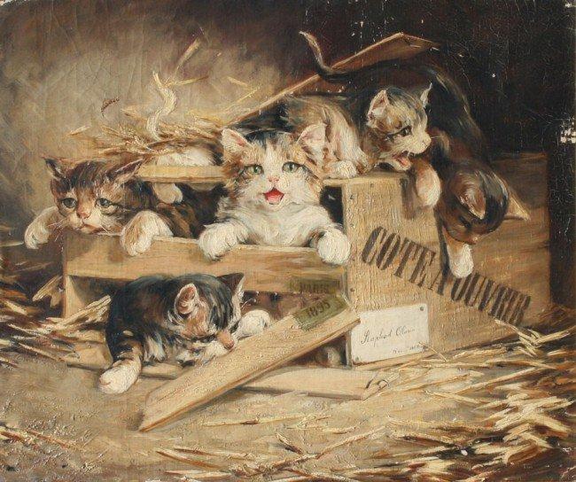 16: FREDERICO OLARIA KITTENS PAINTING