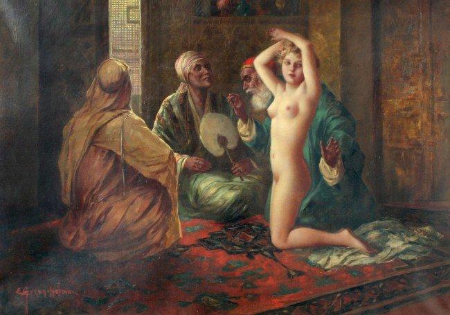 44: ANSEN-HOFMANN ORIENTALIST SLAVE GIRL PAINTING