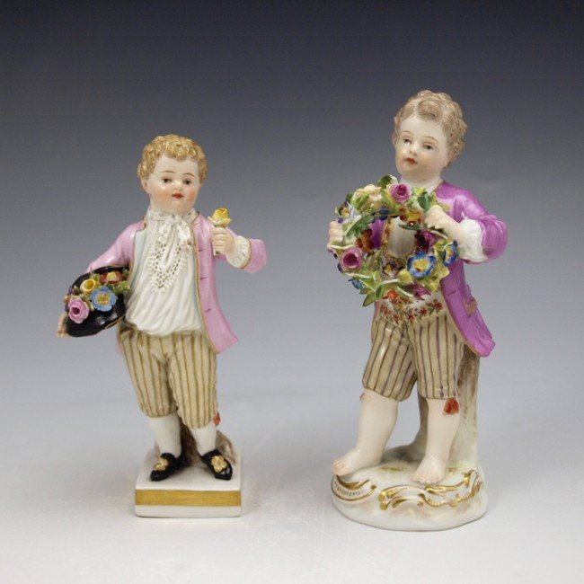 19: TWO  19TH C FINELY DETAILED MEISSEN FIGURINES