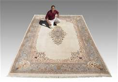 297 PERSIAN KERMAN HAND KNOTTED WOOL RUG 99 x 14