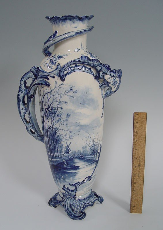 17: 22 inch  ROYAL BONN BLUE DECORATED VASE
