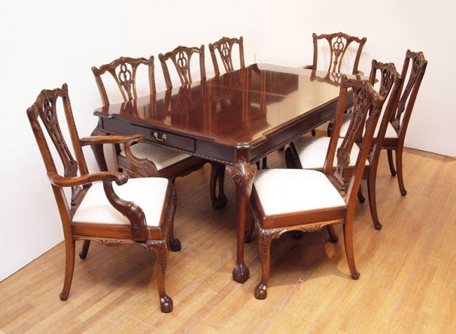 22: LINK TAYLOR MAHOGANY DINING TABLE ARDLEY HALL CHAIR