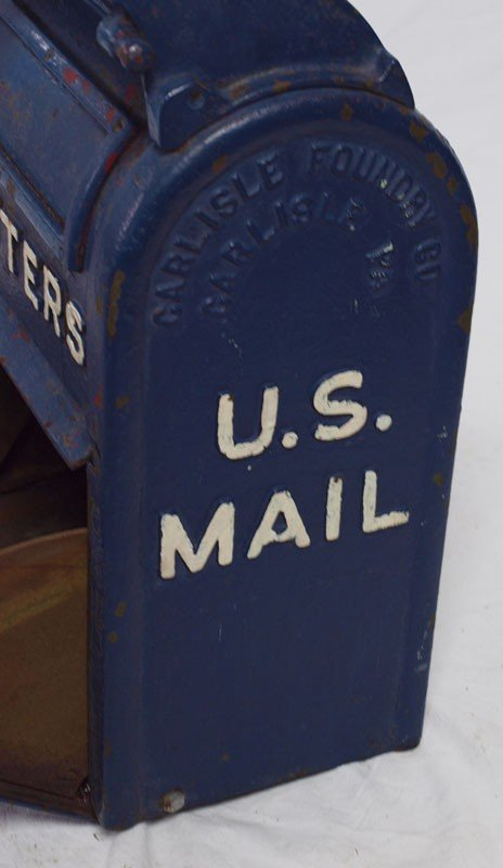413: VINTAGE CAST IRON US LETTER BOX - 4