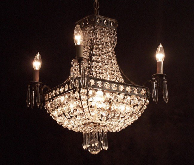 13: DIMINUTIVE FRENCH EMPIRE STYLE CRYSTAL CHANDELIER