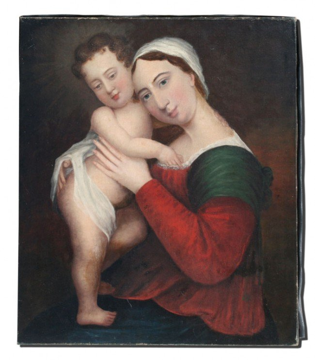 15: (18TH/19TH C?) OIL/CANVAS MADONNA AND CHILD
