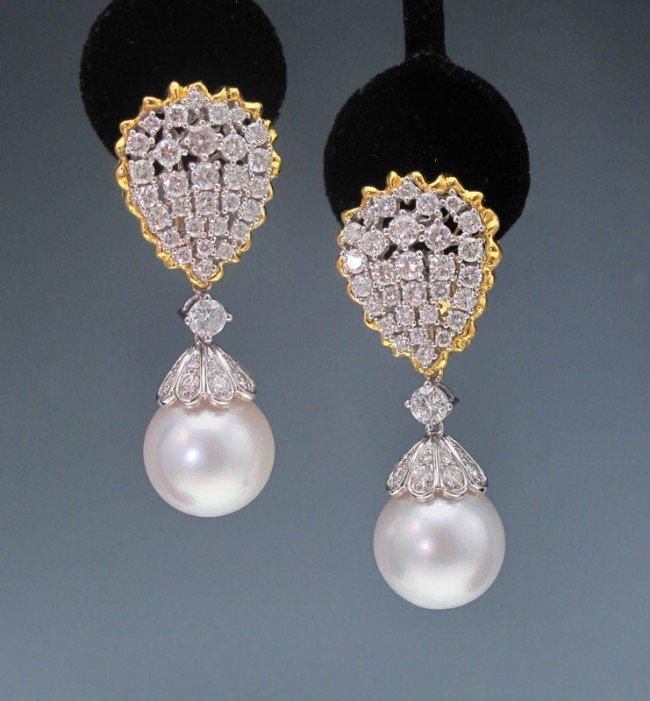 65: 18K 14.5 MM  PEARL AND 4,5 CTW  DIAMOND EARRINGS