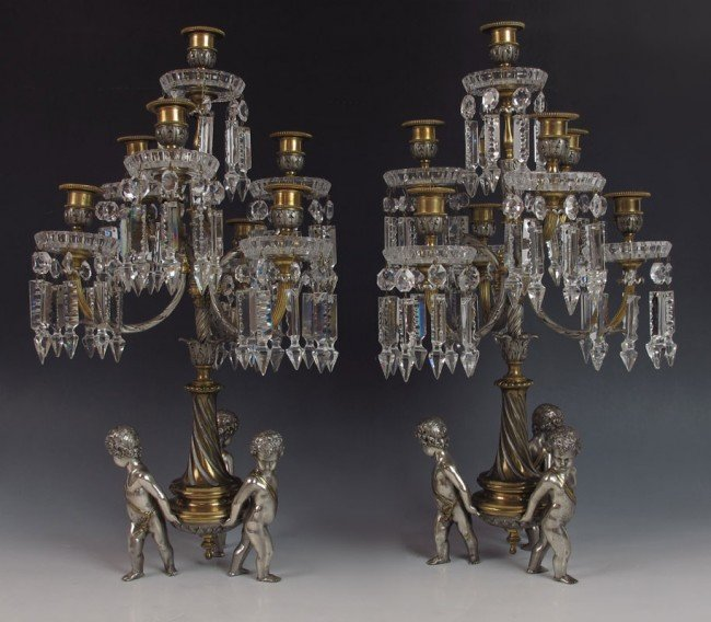 1: PAIR BACCARAT BRONZE AND CRYSTAL CANDELABRA