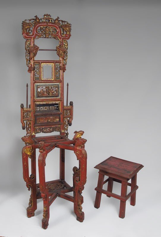11: RED LACQUER AND GOLD CARVED CHINESE STAND