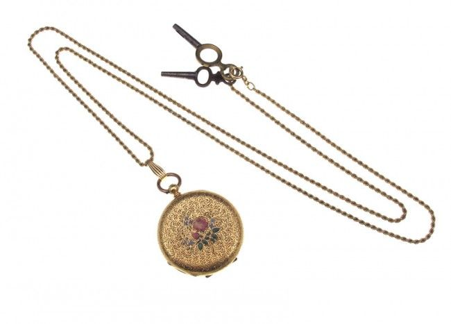 308: 18k GOLD POCKET WATCH & CHAIN SOLD WITH NO RESERVE