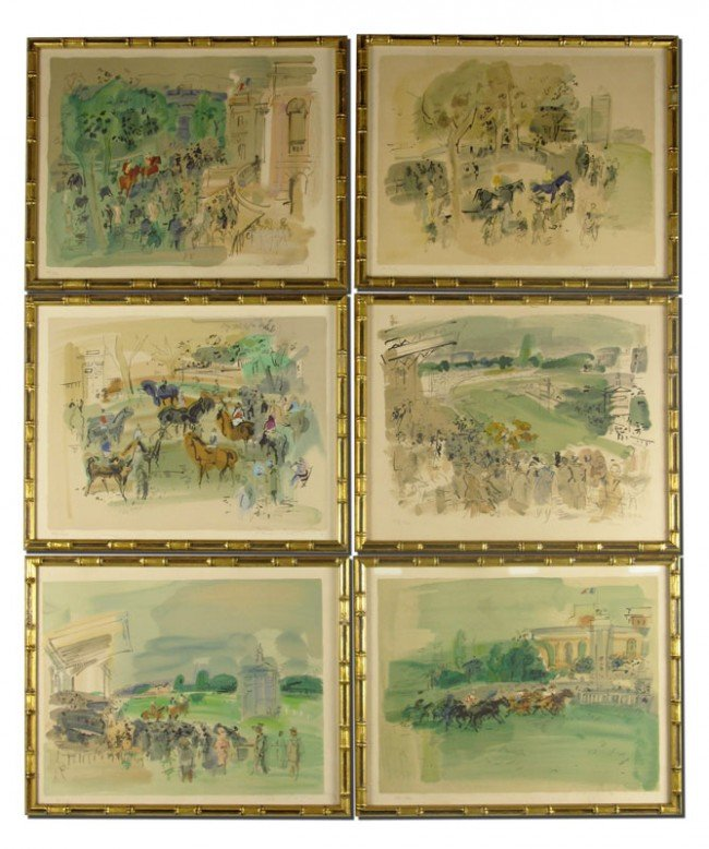 22: 6 RAOUL DUFY HORSE RACING LITHOGRAPHS