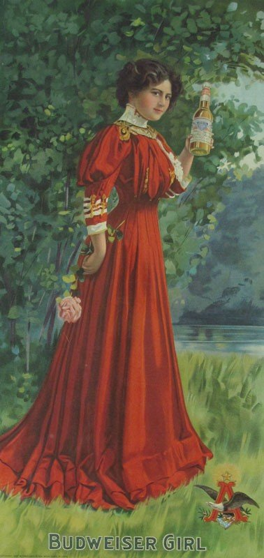 13: 1907 BUDWEISER GIRL ADVERTISING SIGN