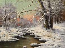 LASZLO NEOGRADY SNOWY LANDSCAPE PAINTING