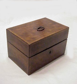 5: TEA CADDY W/ SILVER CANNISTER INSERTS