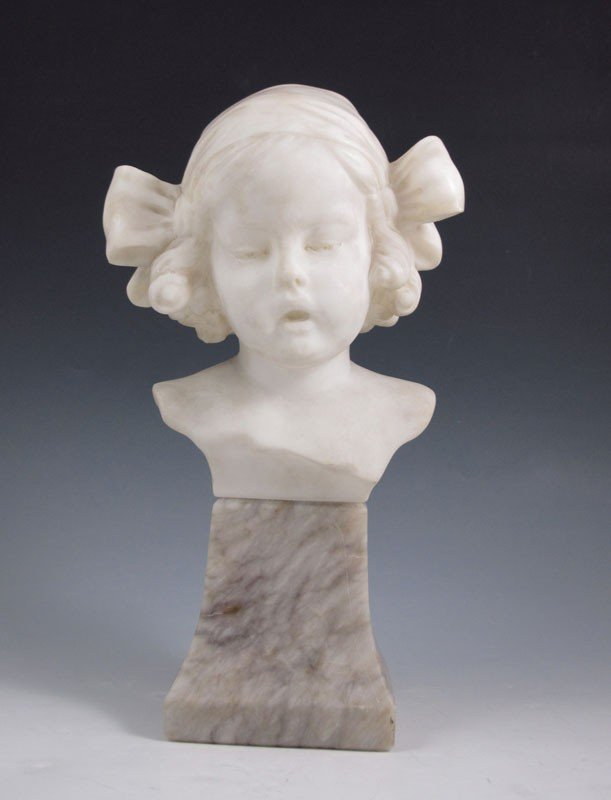 17: GOLDSCHEIDER MARBLE OF A YOUNG CHILD SIGNED RO