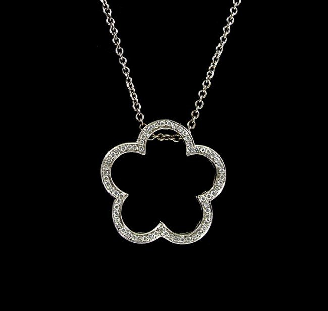 108: HEIDI KLUM 18k DIAMOND CLOVER NECKLACE - 2
