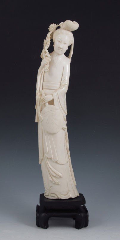 134: 12'' CARVED IVORY CHINESE FIGURE