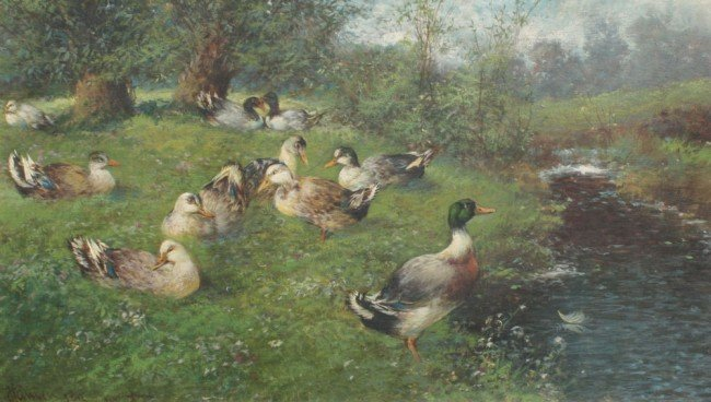 19: MAX HANGER DUCKS BY STREAM PAINTING