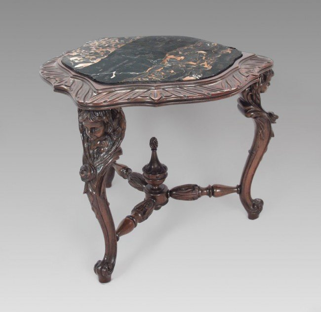 8: CHERUB CARVED MARBLE TOP SIDE TABLE