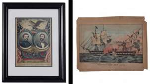 376A 2 SIDED CURRIER  IVES LITHOGRAPH GRAND BANNER