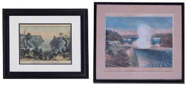 376 2 CURRIER  IVES LITHOGRAPHS NIAGRA FALLS  RIVER