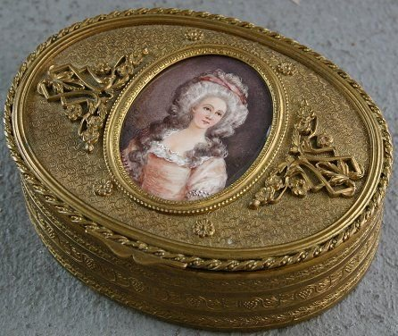 1010: JEWELRY CASKET W/ SIGNED MINIATURE PAINTING IVORY