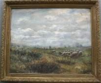 1137: MYSTERY SHEEP SHEPHERD PAINTING CIRCA 1900s