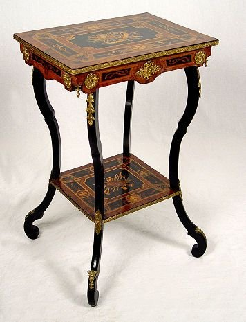 1021: 19TH C ITALIAN INLAID ORMOLU SIDE TABLE