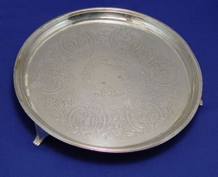 1175: ENGLISH STERLING SILVER SALVER TRAY