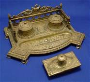 1294: ORNATE BRASS INK STAND DOUBLE WELL BLOTTER