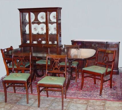 1280: 1940u0027S MAHOGANY 9 PC DINING ROOM SET