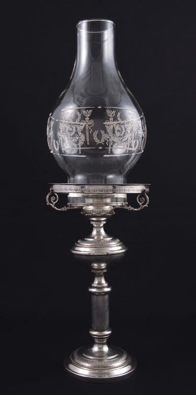 4: ITALIAN SILVER CANDLE HOLDER & CHIMNEY
