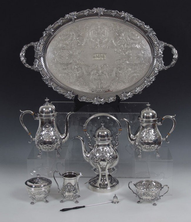 8: AMSON STERLING TEA & COFFEE SERVICE 114.9 T OZ.