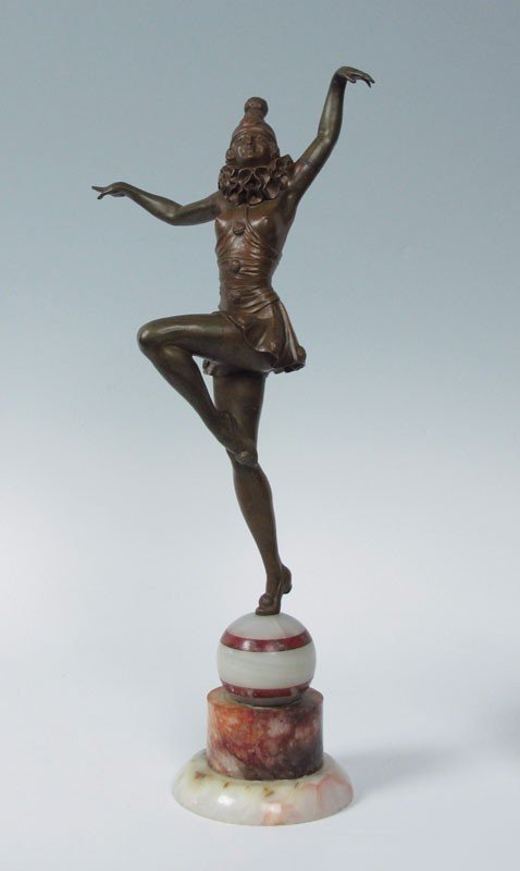 9: FEMALE HARLEQUIN NUDE DECO DANCER BRONZE