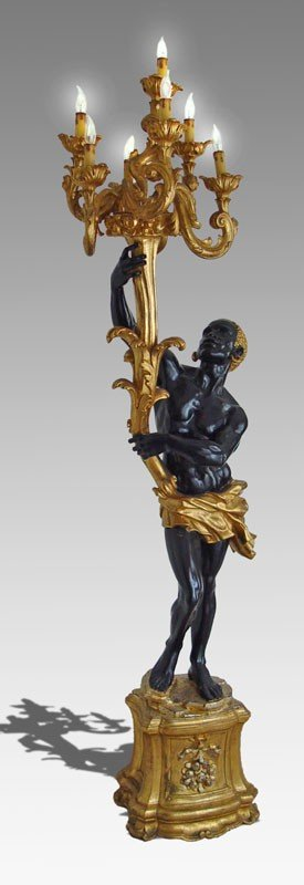 11: CARVED AND GILT WOOD CARVED BLACKAMOOR TORCHIERE 6