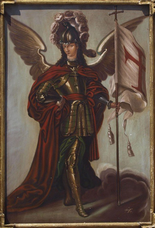 16: LARGE FLORES GOMEZ ARCHANGEL PAINTING