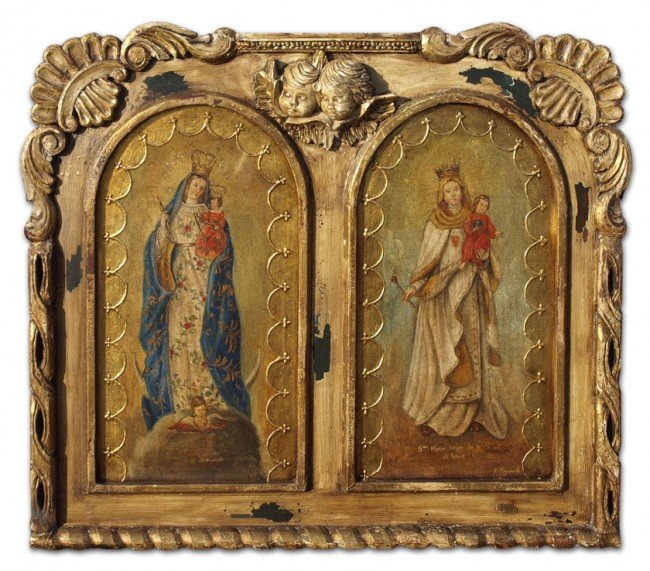 17:LARGE OIL PAINTING OF 2 VIRGINS GREAT CARVED FRAME