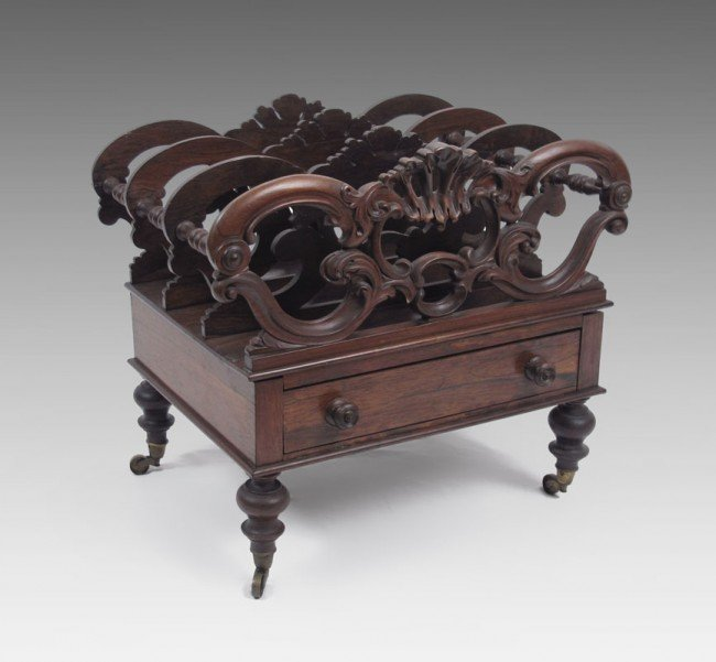 20: EARLY VICTORIAN CARVED ROSEWOOD CANTERBURY