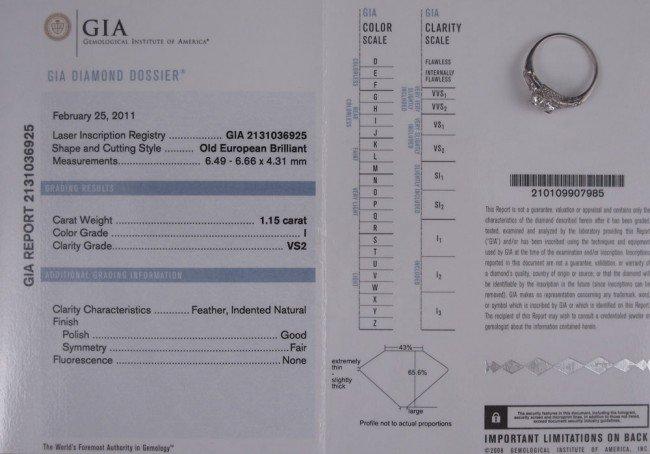 41: PLATINUM 1.15 CT OLD EURO DIAMOND PLUS RING - 4