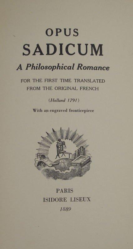 447: 1889 MARQUIS DE SADE OPUS SADICUM BOOK - 2