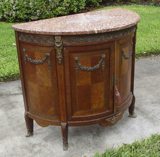 28A: 19TH CENTURY FRENCH MARBLE TOP DEMI-LUME COMMODE