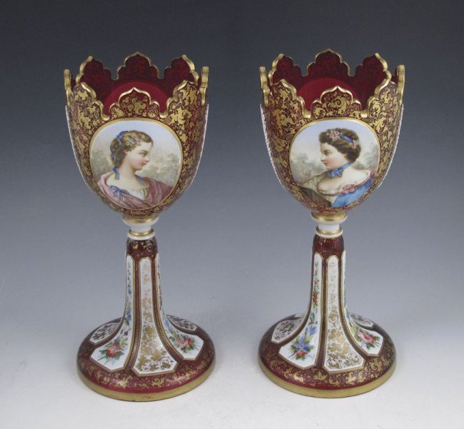 10: PAIR EARLY BOHEMIAN PORTRAIT GARNITURE