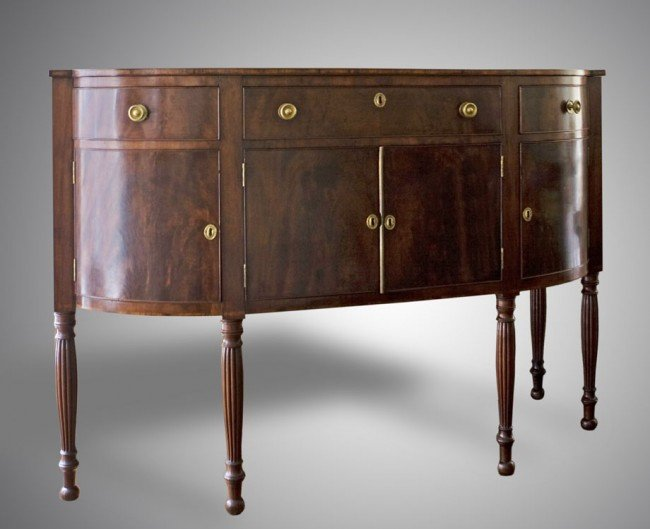15: EARLY 1840'S FLAME GRAIN MAHOGANY SIDEBOARD