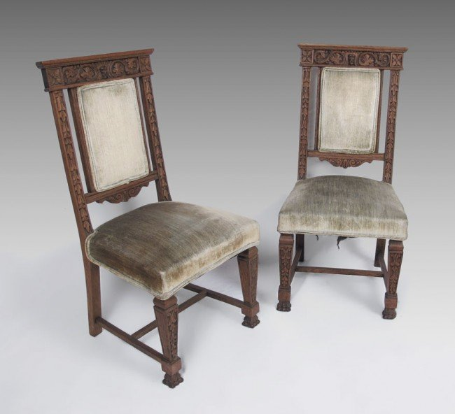 25: PAIR HORNER QUALITY CARVED OAK SIDE CHAIRS