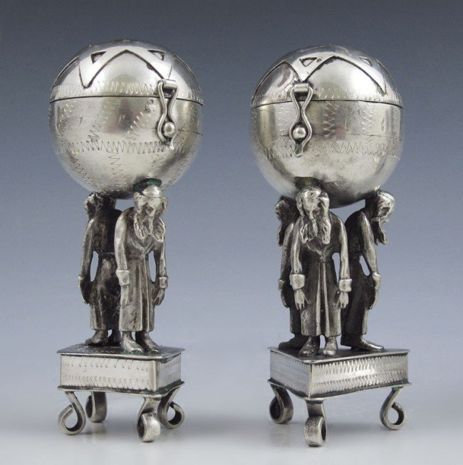 2: 2 RUSSIAN JUDAICA FIGURAL SHAKERS