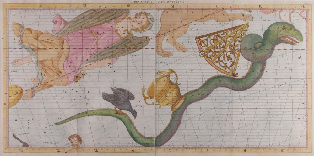 2: 1801 JOHANN BODE CELESTIAL VIRGO MAP URANOGRAPHIA