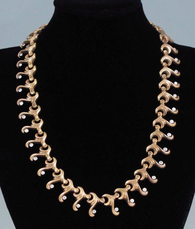 5: CA. 1940'S 18K GOLD & DIAMOND NECKLACE 2 CTW 36 GR