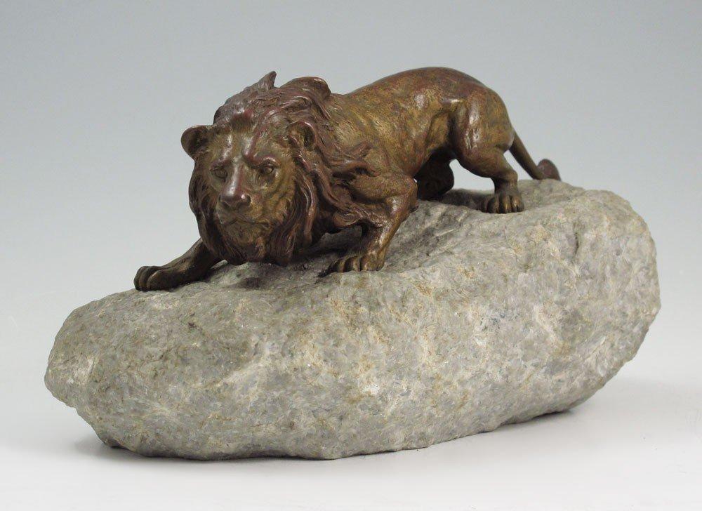 11: SIGNED FRANZ BERGMANN BRONZE LION