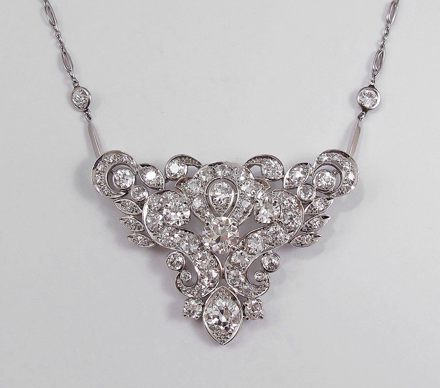 51: $48,000 PLATINUM 11.51CTW DIAMOND NECKLACE / BROOCH