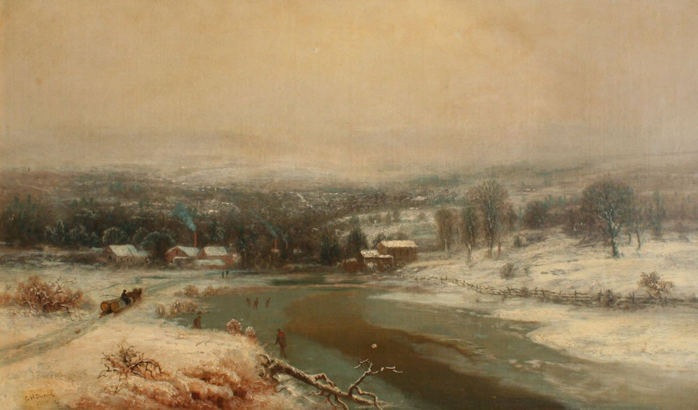214: IMPORTANT GEORGE DURRIE WINTER PAINTING 1860